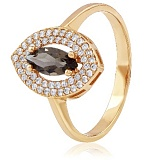 Золотое кольцо с раухтопазом и фианитами Каталина