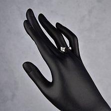 Серебряное кольцо Ферджи с разомкнутой шинкой, фианитом и цветочком в стиле Луи Виттон