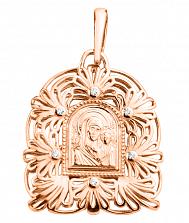 Золотая ладанка Пресвятая Богородица и Сын на узорной основе с белыми фианитами