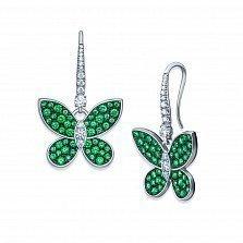 Серебряные серьги-подвески Летний вечер с зелеными алпанитами и фианитами