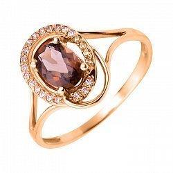 Кольцо в красном золоте Грета с раухтопазом и фианитами
