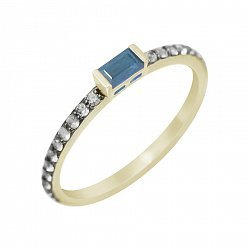 Кольцо из желтого золота с голубым топазом и бриллиантами 000114558