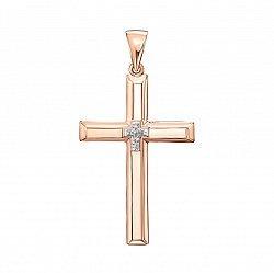 Золотой декоративный крестик с фианитами и родированием 000135923