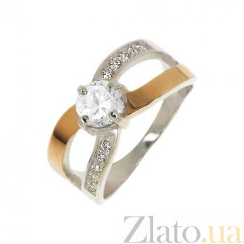 Серебряное кольцо Самба с золотой вставкой и фианитами 000013702