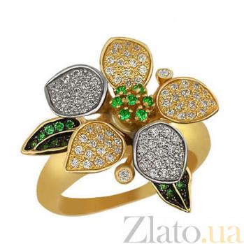 Золотое кольцо Жасмин с белыми и зелеными фианитами VLT--ТТ1007-1