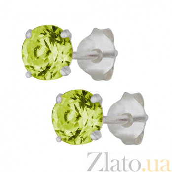 Серебряные сережки-пуссеты с зеленым цирконием Эсселта SLX--С2ФП/603