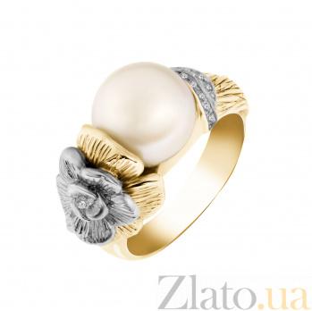Золотое кольцо Цветочная мелодия с белым жемчугом и бриллиантами 000093964