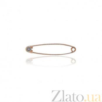 Булавка в двух цветах золота Маргаритка с цирконием EDM--БЛ002/2