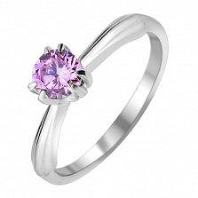 Серебряное кольцо Барби с розовым фианитом