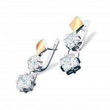 Серебряные серьги Гвинет с золотой накладкой и фианитами