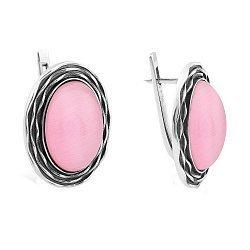 Серебряные серьги с жабо и розовыми улекситами 000106044