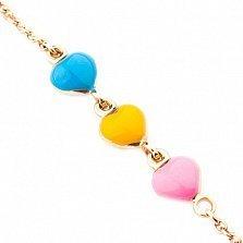 Детский золотой браслет с цветной эмалью Люблю природу