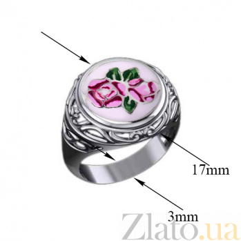 Серебряное кольцо Розалинда с разноцветной эмалью 000080054