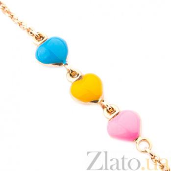 Детский золотой браслет с цветной эмалью Люблю природу ONX--б00521