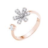 Позолоченное серебряное кольцо Цветочная гармония с фианитами