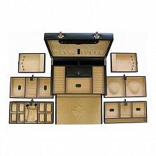Черная кожаная шкатулка для украшений с 4 выдвижными ящиками