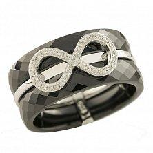 Кольцо из серебра и черной керамики Вечная красота с фианитами
