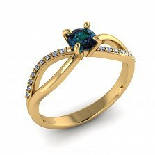 Золотое кольцо Desire с синтезированным александритом и бриллиантами