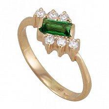 Золотое кольцо Таира с синтезированным изумрудом и фианитами