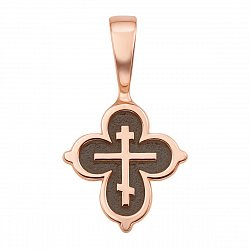Православный крестик из красного золота с чернением 000123809