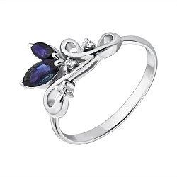 Серебряное кольцо Нежная веточка с сапфирами и бриллиантами