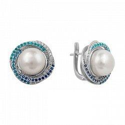 Серебряные серьги с жемчугом, голубыми, синими и белыми фианитами 000081891