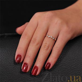 Кольцо из красного золота Ажурная вязь с фианитами EDM--КД0165