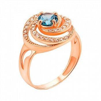 Кольцо из красного золота с голубым топазом и фианитами 000131272