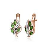 Серебряные серьги с зеленым цирконием Тамуна
