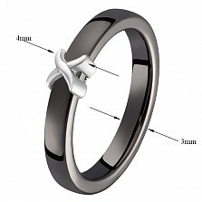 Кольцо в белом золоте Исида с черной керамикой