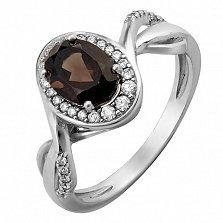 Серебряное кольцо Пиония с дымчатым кварцем и фианитами