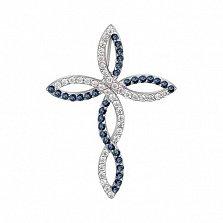 Крестик в белом золоте Исключительность с сапфиром и бриллиантами