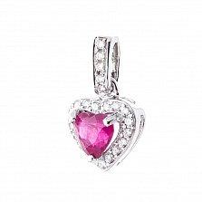 Золотой кулон Живое сердце в белом цвете с рубином и бриллиантами