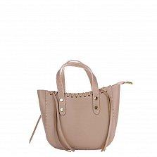 Кожаная сумка на каждый день Genuine Leather 1022 розового цвета на молнии со съемным ремнем