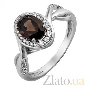 Серебряное кольцо с дымчатым кварцем и фианитами Пиония 000029163