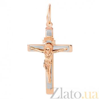 Крестик из комбинированного золота Иисус Спаситель HUF--115-АК