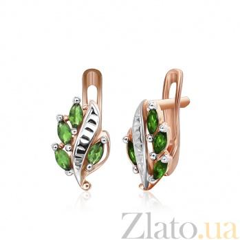 Серебряные серьги с зеленым цирконием Тамуна SLX--СК3ФИ/002
