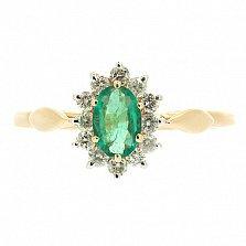 Золотое кольцо с бриллиантами и изумрудом Малинка