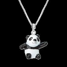 Детское колье Веселая панда с черно-белой эмалью