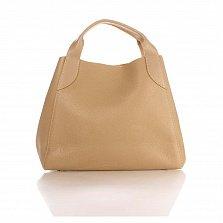 Кожаная сумка на каждый день Genuine Leather 8901 цвета пралине на магните и карабине, с косметичкой