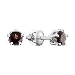Серебряные серьги-пуссеты с дымчатым кварцем 000145932