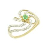 Золотое кольцо с изумрудом и бриллиантами Одетта