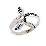 Золотое кольцо в белом цвете с сапфирами Фелисита