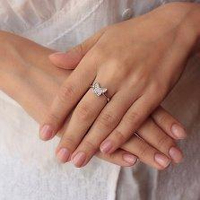 Серебряное кольцо Стильная бабочка с белым цирконием в стиле Ван Клиф