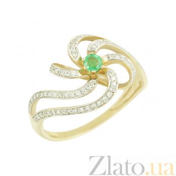 Золотое кольцо с изумрудом и бриллиантами Одетта 1К046-0029