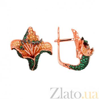 Серьги и красного золота Тропическая орхидея VLT--ТТ2249-2