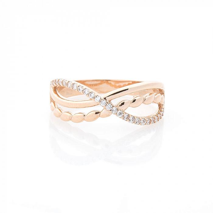 Золотое кольцо Бесконечная романтика с фантазийной шинкой и белыми фианитами 000082386