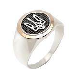 Серебряное кольцо-печатка с золотой вставкой Тризуб