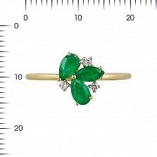 Кольцо из желтого золота Фиона с изумрудами и бриллиантами