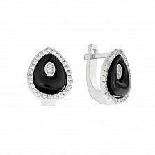 Серебряные серьги Черная капля с керамикой и кристаллами циркония